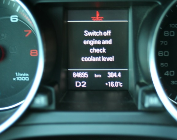 switch off engine and check coolant level